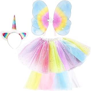 GirlZone: Unicorn Outfit for Girls Dress Up, Includes Unicorn Headband, Rainbow Tutu and Fairy Wings