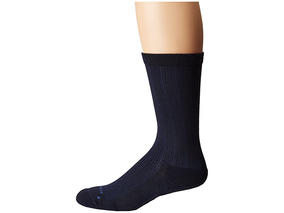 Feetures Texture Cushion Crew Sock (Navy) Crew Cut Socks Shoes