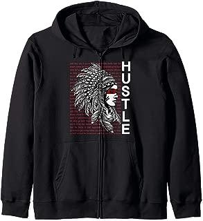 Native American Hustle Hard Hip Hop Urban Gang Clothing Zip Hoodie