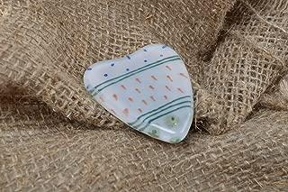 Small Cute Handmade Decorative Fused Glass Fridge Magnet White Ornamented Heart