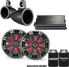 "$659 » Kicker 8"" BlackCharcoal Wake Tower LED Marine Speakers 1-Pair with 300 Watt Marine Amplifier"