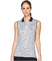 Sketchy Floral Print Sleeveless Polo
