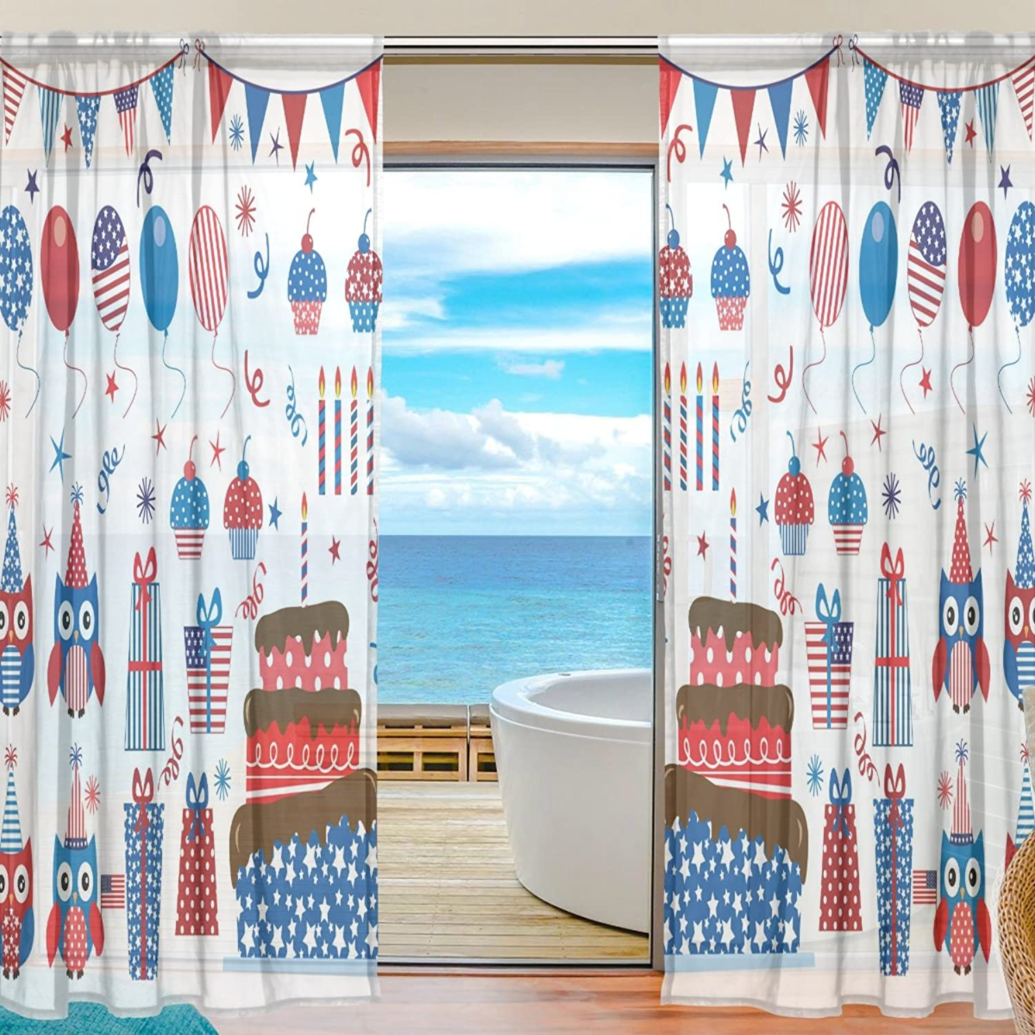 Vantaso Sheer Curtains 78 inch Long Fourth of July Patriotic Happy Owls for Kids Girls Bedroom Living Room Window Decorative 2 Panels
