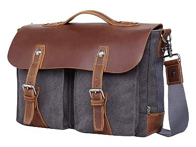 TSD Brand Hudson Canvas Messenger Bag (Grey) Messenger Bags