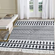HEBE Large Cotton Rugs 3'x5' Washable Bohe Printed Woven Tassel Area Rugs Black and Cream White Floor Carpet Mat Bohemian ...