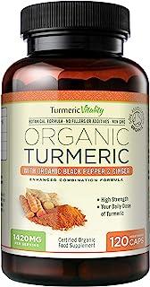 Turmeric Vitality Organic Turmeric Curcumin Capsules 1420mg High Strength Serving with Black Pepper & Ginger for Maximum A...