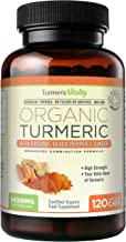 Turmeric Vitality Organic Turmeric Curcumin Capsules 1420mg High Strength Serving with Black Pepper & Ginger for Maximum A...