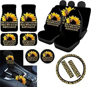 POLERO Sunshine Conjunto de capas de assento de carro girassol, tapetes de piso/capa de câmbio de engrenagens/capa de frei...