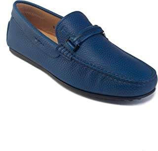 Tod's Men's Leather Gommino Penny Loafer Driving Shoes Blue