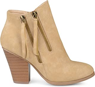 Brinley Co. Womens Faux Leather Stacked Wood Heel Double Zipper Booties