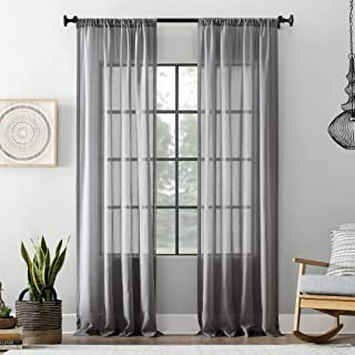 """Archaeo Textured Cotton Blend Sheer Curtain, 54"""" x 63"""", Gray"""