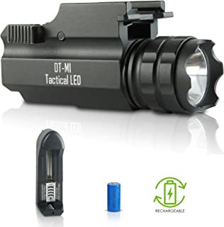 DefendTek Rechargeable Tactical LED Rail Mounted Gun Flashlight DT-M1 300 Lumens
