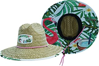 Woman's Sun Hat Straw Hat with Fabric Print Under Brim Great for Beach Ocean, Cruise, and Outdoor, Malabar Hat Co. Hibiscus
