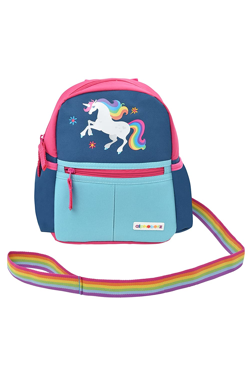 Alphabetz Unicorn Toddler Backpack with Leash, Pink, Blue, Universal Size for Girl