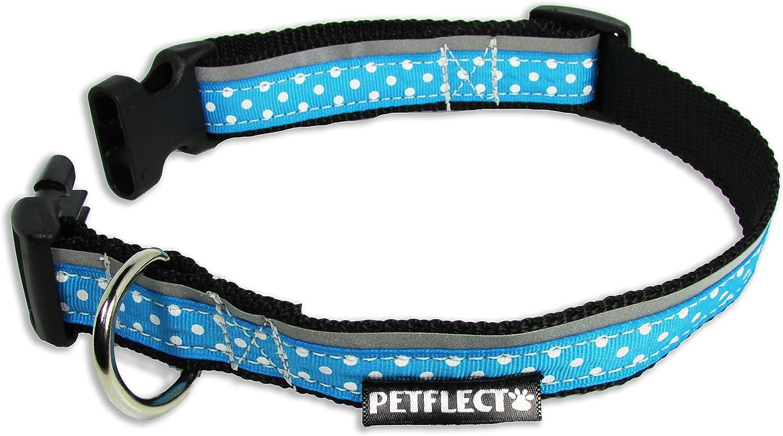 Petflect White Dots on Turquoise Reflective Collar, Medium