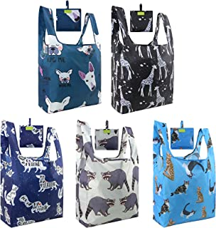 Reusable Groceries Bags for Shopping Reusable Bags Tote Nylon 50LBS Ripstop Mixed Bags Designs Cat Dog Raccoon Giraffe Fashion Bags for Gifts with Pouch Machine Washable Eco Friendly