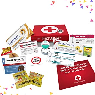 Birthday present for women and men, humorous medicine inspired 1st aid kit | Very First Aid Box gifts for her and him | 9 pieces
