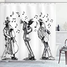 Ambesonne Jazz Music Decor Collection, Sketch Style of a Jazz Band Playing Music with Instruments and Musical Notes Print, Polyester Fabric Bathroom Shower Curtain, 75 Inches Long, Black White