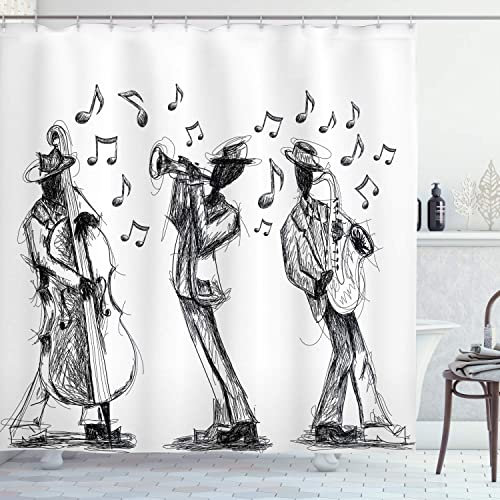 Living Room Bedroom Curtain 2 Panels Set Sketch Style of a Jazz Band Playing Music with Instruments and Musical Notes Print Black White 108X90 Inches Ambesonne Jazz Music Decor Collection