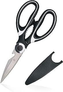 KUZZER Kitchen Scissor Multi-Purpose - Ultra Sharp Blade, Stainless Steel, Fish Scale Scraper, Chicken and Turkey Cutter, Bottle Opener, Nut Cracker, Anti-Bacteria Handle, Black