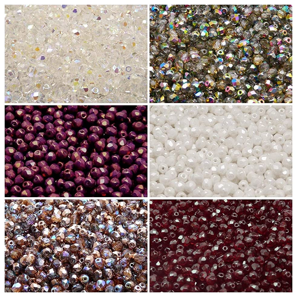 600 beads 6 colors Czech Fire-Polished Glass Beads Round 4 mm, Set 428 (4FP001 4FP002 4FP003 4FP006 4FP031 4FP055)
