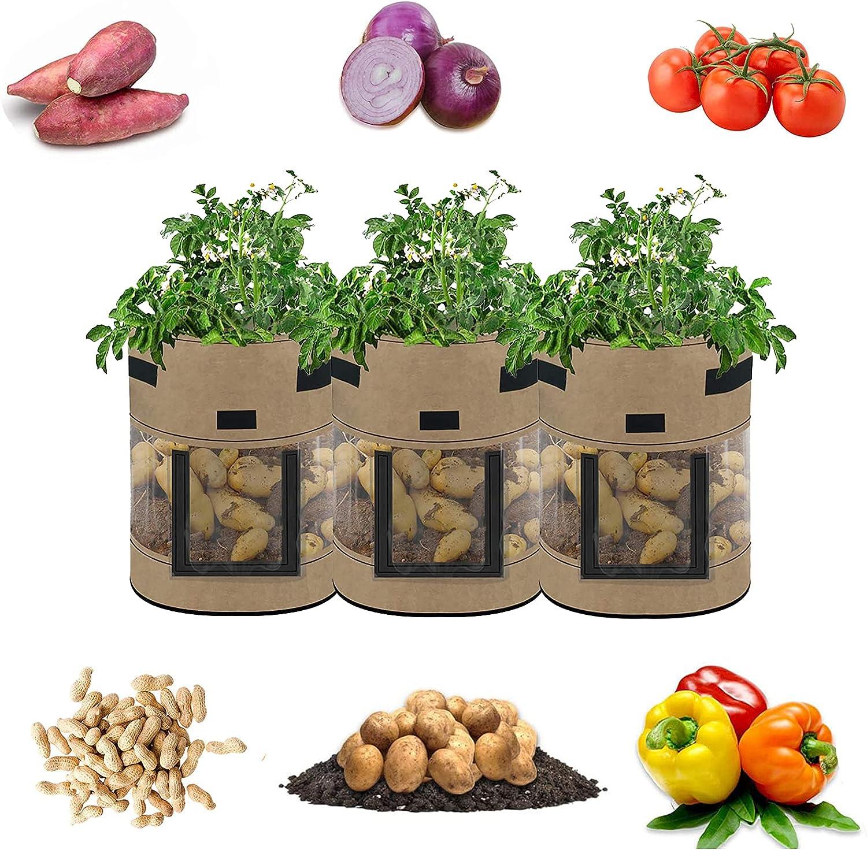Bolsas de Cultivo para Patatas,Bolsa de Cultivo de Plantas ,con Ventana de visualización de 360 ° y Asa Transpirables, para Flores, Verduras, contenedores para jardín, guardería, 3 Piezas.