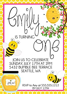 Girls Bumble Bee First Birthday Party Invitations, Bumble Bee Birthday Decor, Bumble Bee Birthday Invitations, First Birthday Invitations With Envelopes