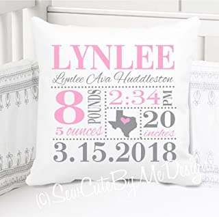 """Sew Cute by Me Designs Original Birth Announcement Pillow for Baby Girls Nursery - Birth State in Pink and Grey - Includes Personalized Pillowcase and Pillow Insert 14""""x14"""" or 16""""x16"""""""