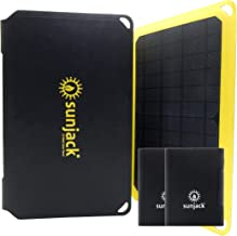 SunJack 25W Solar Charger + 2x10000mAh Power Delivery Power Banks - Portable Solar Panel with USB for Cell Phones, Tablets for Backpacking, Camping, Hiking and More
