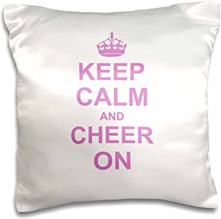 3dRose pc_157697_1 Keep Calm and Cheer on Carry on Cheering Gift for Cheerleaders Pink Fun Funny Humor Humorous Pillow Case, 16