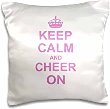 3dRose pc_157697_1 Keep Calm and Cheer on Carry on Cheering Gift for Cheerleaders Pink Fun Funny Humor Humorous Pillow Case, 16 x 16