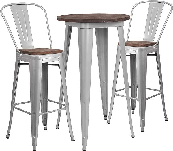 泰勒洛根金属木条桌和高背 2 个凳子套装银色