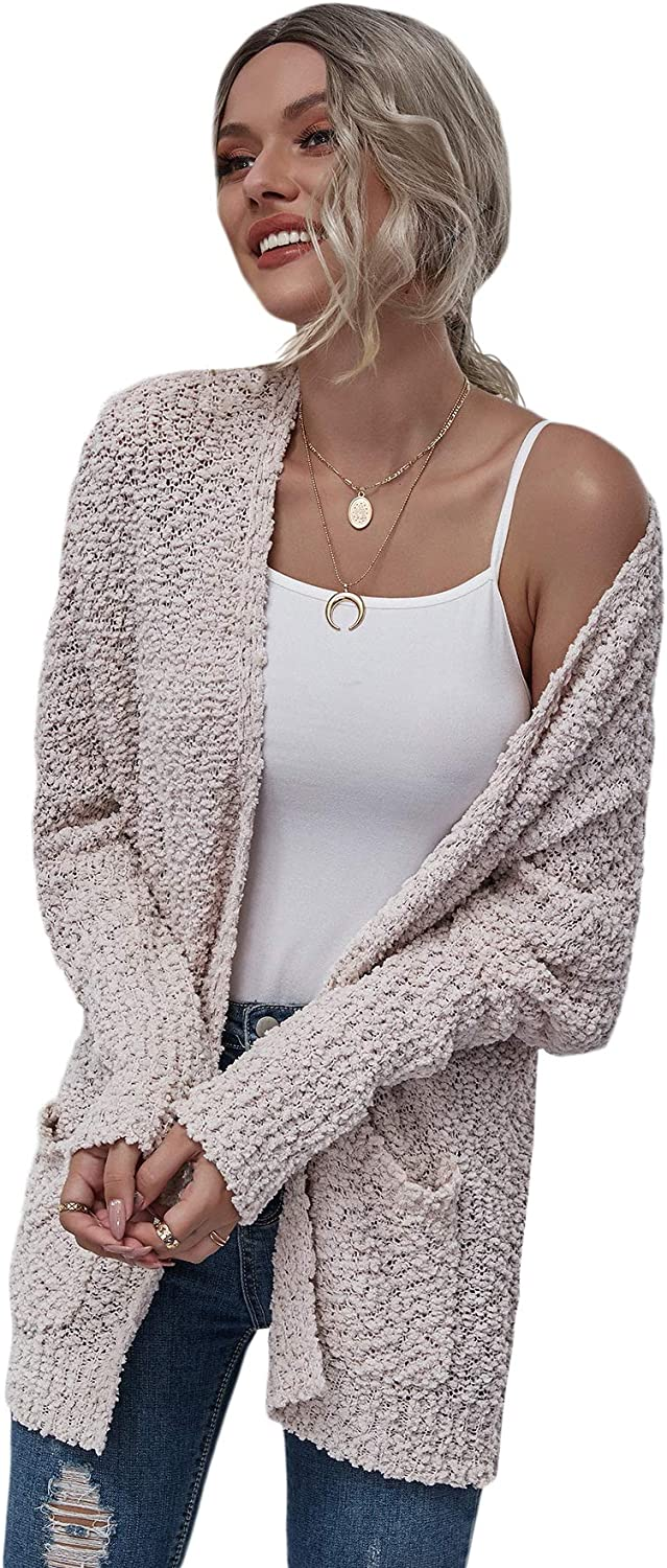 Floerns Women's Casual Solid Open Front Popcorn Knit Cardigan Sweater Outerwear
