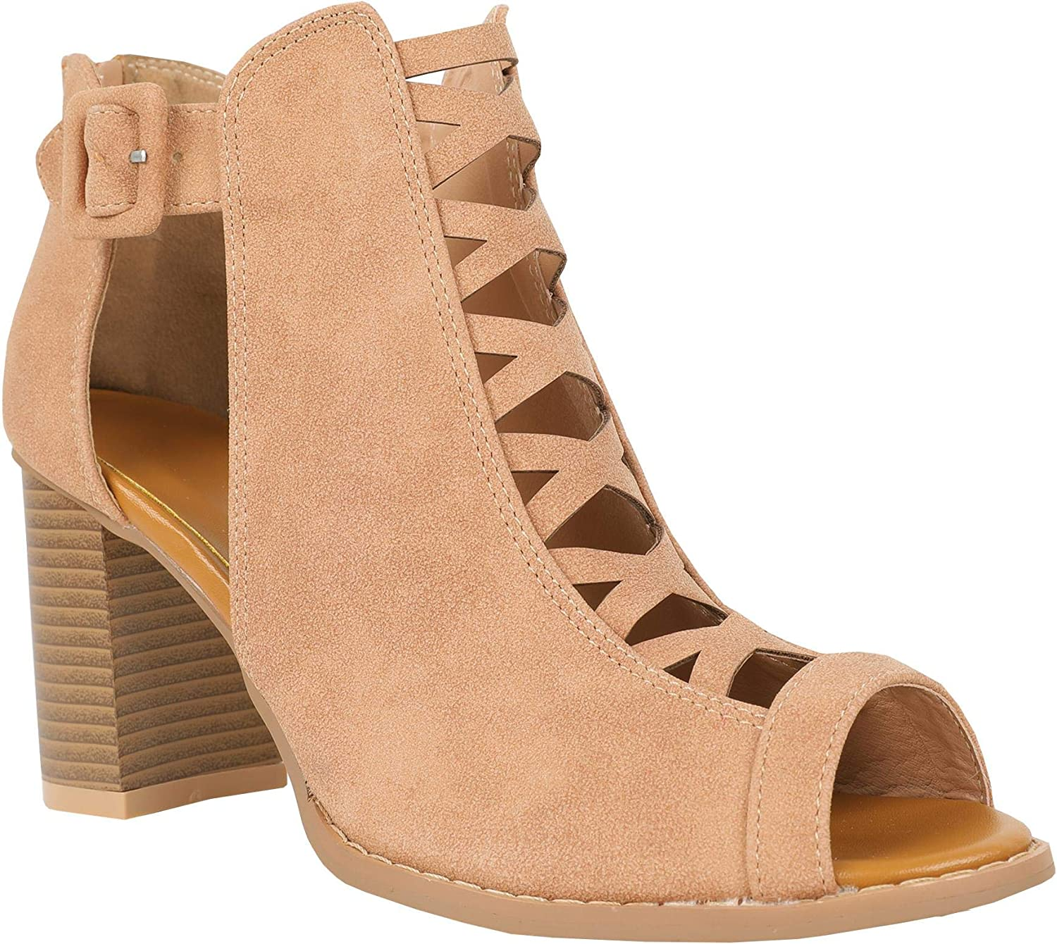 Syktkmx Womens Cutout Open Toe Sandals Chunky Block High Heel Lace Up Booties