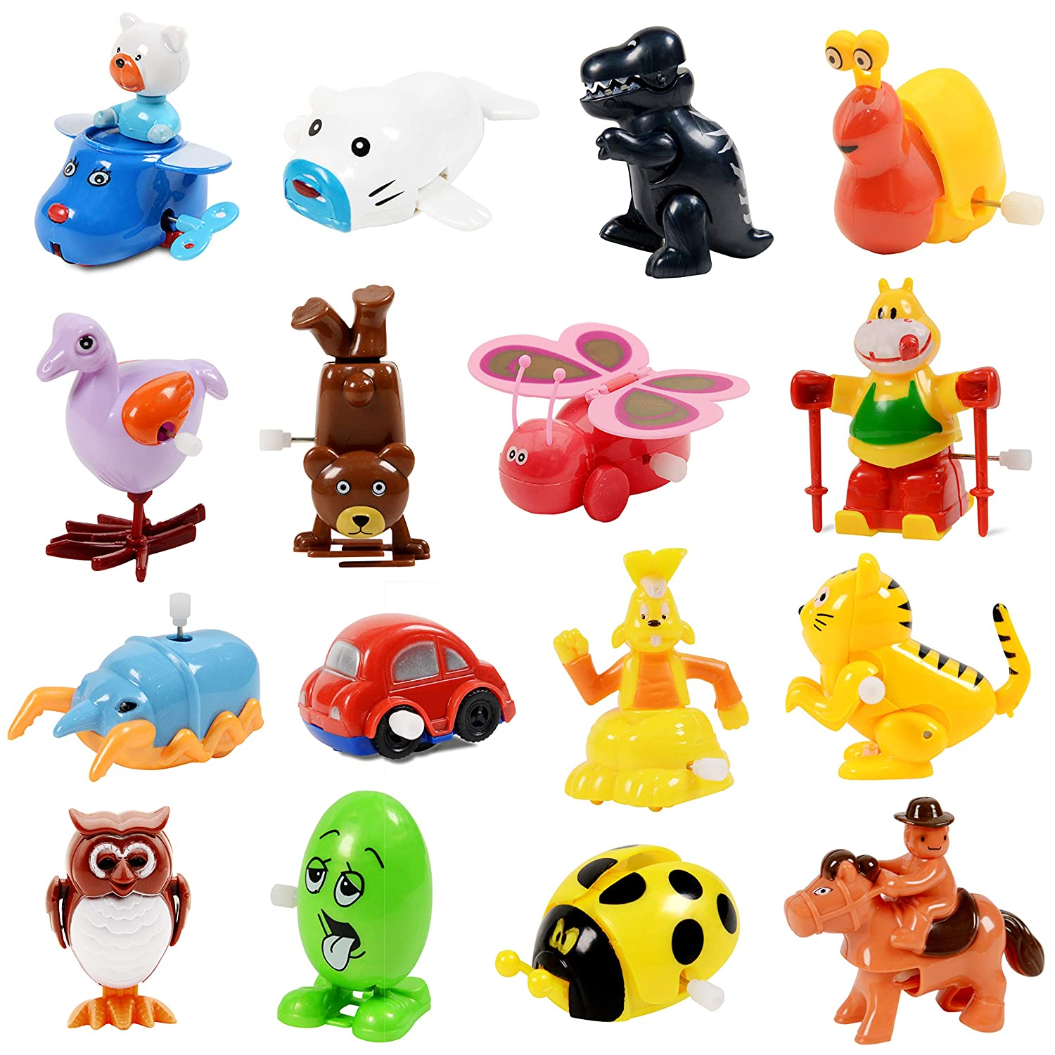 Wind Up Toy,16 Pack Assorted Clockwork Toy Set(Contents and Color May Vary),Original Color Wind Up Animal Party Favors Toy Great Gift for Boys Girls Kids Toddlers