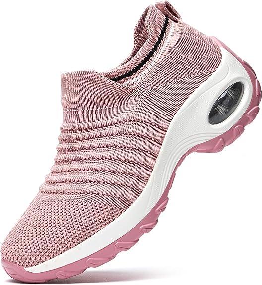 RDTRAVEL Women Walking Shoes Sock Sneakers-Mesh Slip On Air Cushion Fashion Sneakers Running Working Shoes