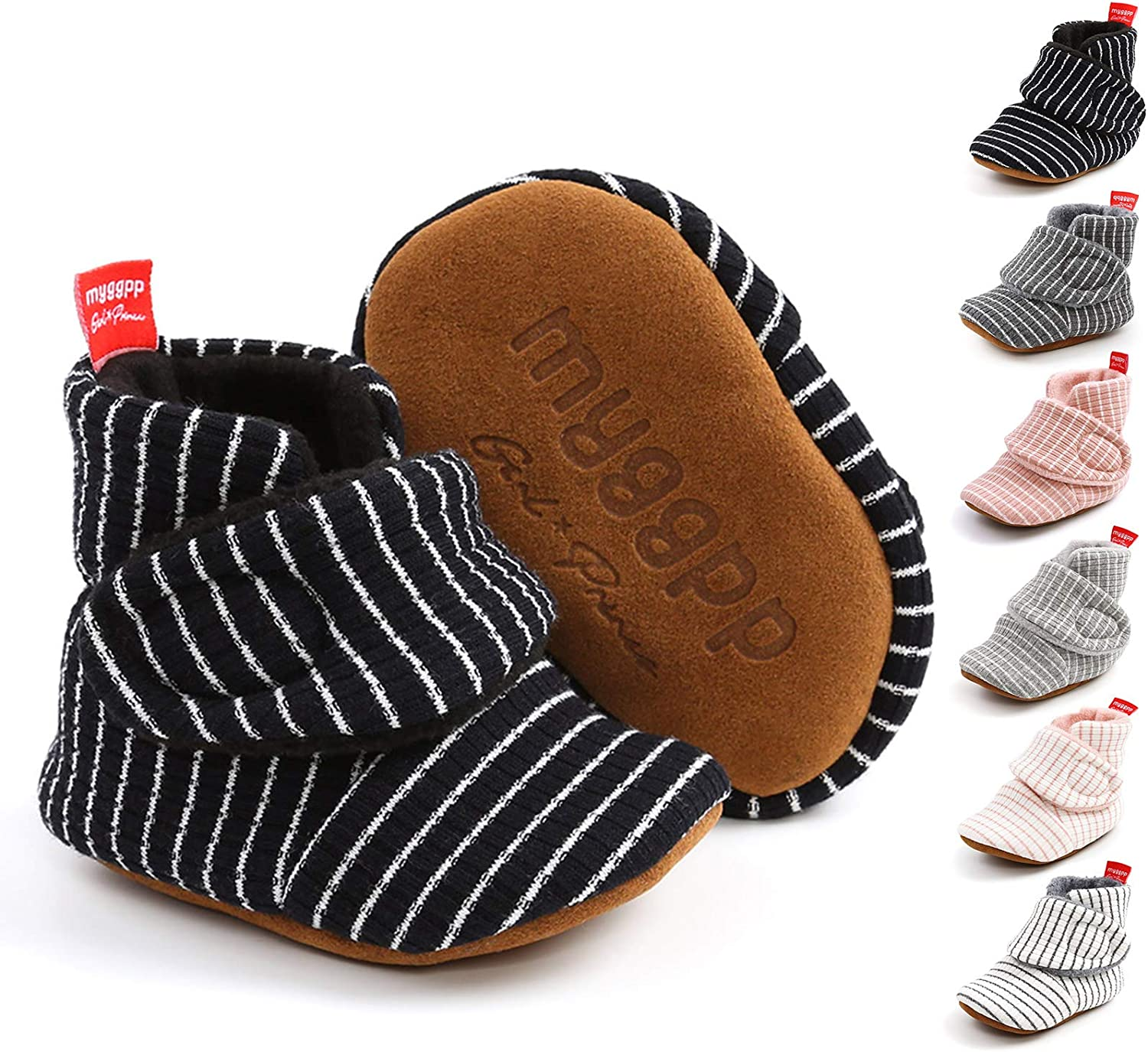 Baby Boys Girls Cotton Booties Fleece Infant Socks Non-Skid Soft Sole Stay On Newborn Slippers Winter Warm Crib Shoes(0-18 Months)