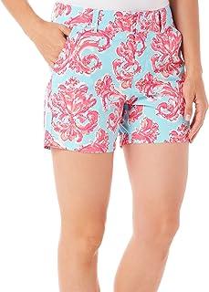 Caribbean Joe Women's Printed Poplin Clean Front Short