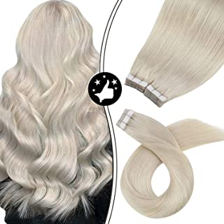 Moresoo 20 Inch Straight Remy Human Hair Glue in Hair Extensions Human Hair Color #60A Blonde Skin Weft Tape in Hair Glue ...