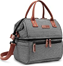 Lokass Lunch Bags for Women Wide Open Insulated Lunch Box With Double Deck Large Capacity..