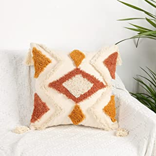 Merrycolor Boho Throw Pillow Covers 18x18, Decorative Pillow Covers with Tassels Woven Tufted Bohemian Pillow Covers for C...