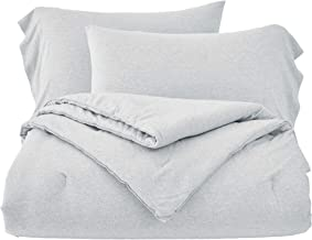 Chezmoi Collection Asher 2-Piece Heather Jersey Knit Cotton Comforter Set - Solid Reversible Lightweight Super Soft and Br...