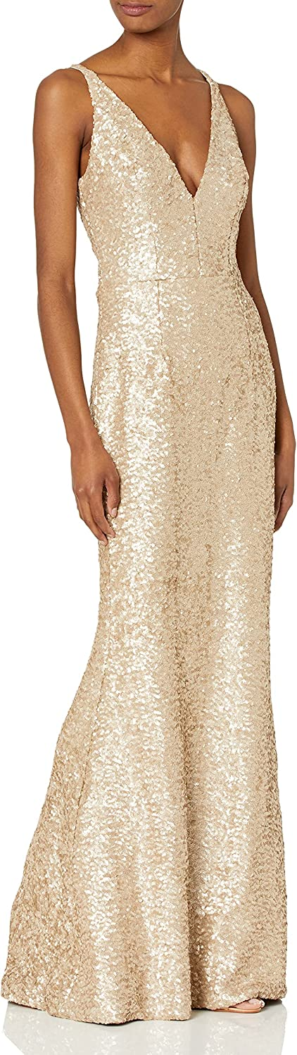 Dress the Population Women's Harper Sequin Sleeveless Plunging Long Gown, Pale Blush, XL
