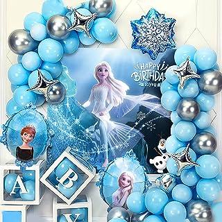 [45Pcs Pack]Frozen Birthday Party Supplies Birthday Party Decorations,Elsa Backdrop*1,Elsa Princess Balloon*2,Snowflake Ba...