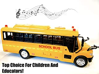 Big Daddy Huge Yellow School Bus with Lights and Cool Openable Doors Pull Back Toy School Bus with Sounds and Songs for Girls, Boys, Toddlers