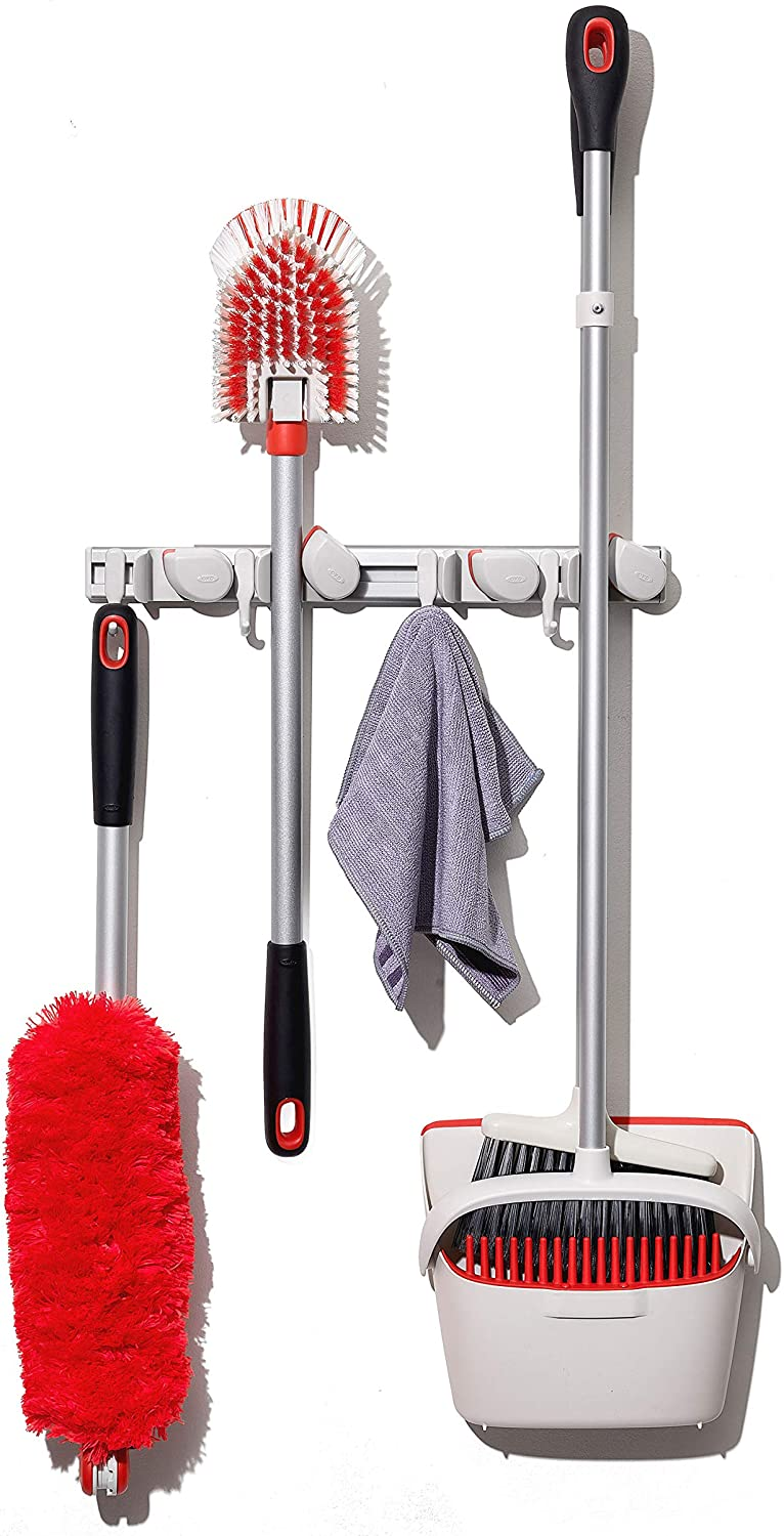 OXO Good Grips Cheap super special price Wall-Mounted Mop Organizer Genuine Free Shipping and Broom