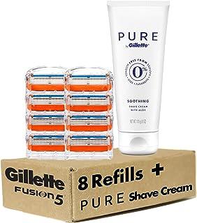 پر کننده تیغ مردانه Gillette Fusion5 Value Pack، 8 Count plus Gillette PURE Shave Cream، 6oz