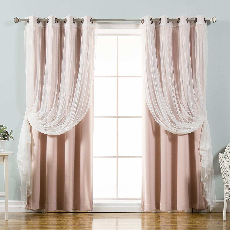Best Home Fashion uMIXm Tulle Sheer Lace & Blackout 4 Piece Curtain Set - Antique Bronze Grommet Top - Dusty Pink - 52