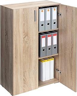 Armoire Polyvalente Meuble de Rangement avec Portes »Vela« Chêne 3 Compartiments Armoire Bureau 115,5cm x 60cm x 31cm
