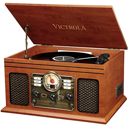Victrola Classic Vynil Music Centre 6-in-1, Bluetooth, Lettore CD e cassette, Radio FM - Mogano